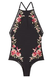 Zimmermann Embroidered Swimsuit With Cut Out Detail Black