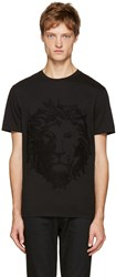 Versus Black Embroidered Lion T Shirt