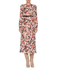 Agnona Long Sleeve Floral Print Midi Dress Coral Floral