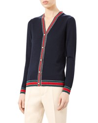 Gucci Merino Wool Knit Cardigan Navy
