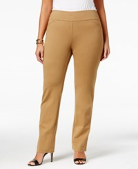 Charter Club Plus Size Cambridge Tummy Control Ponte Pants Only At Macy's Salty Nut