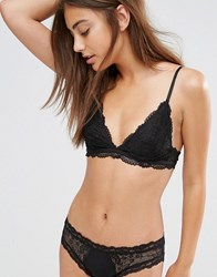 Monki Lace Triangle Bra Black