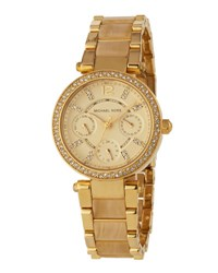 Michael Michael Kors Pave Crystal Jet Set Chronograph Watch Golden Tortoise