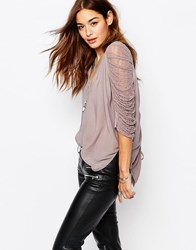 Religion High Low Top With V Neck And Gathered Netting Long Sleeves Gull Grey