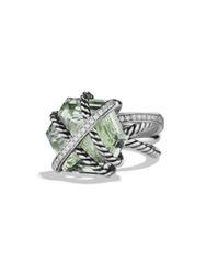 David Yurman Cable Wrap Ring With Prasiolite And Diamonds Silver