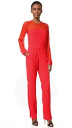 Prabal Gurung Long Sleeve Crew Neck Jumpsuit Cherry