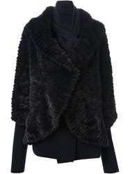 Liska Fur Wrap Coat Blue