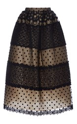 Costarellos Chantilly Lace And Dot Tulle Ball Skirt Black