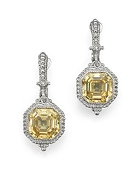 Judith Ripka Estate Ascher Cut Stone Earrings With Canary Crystal Yellow Silver