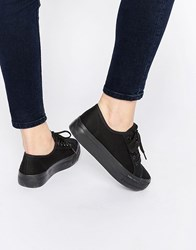 New Look Platform Plimsoll Trainer Black