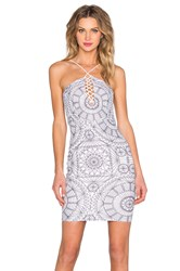 Donna Mizani Medallion Halter Lace Up Mini Dress White