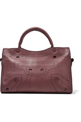 Balenciaga City Blackout Small Perforated Leather Tote Burgundy