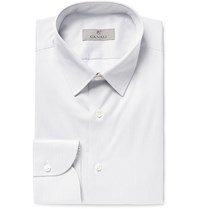 Canali Slim Fit Striped Cotton Shirt Gray