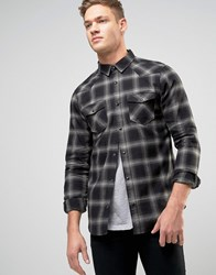 New Look Check Western Shirt In Grey In Regular Fit Mid Grey Green