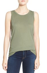Current Elliott Women's Linen And Cotton Muscle Tank Army Green Satellite