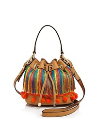 Milly Small Pom Pom Drawstring Bucket Bag Caramel