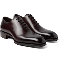 Tom Ford Gianni Burnished Leather Oxford Shoes Dark Brown