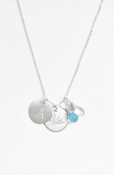 Nashelle Ocean Blue And Crystal Swallow Sterling Silver Initial Disc Necklace Ocean Blue And Crystal A