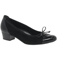 Gabor Islay Wide Block Heeled Court Shoes Black