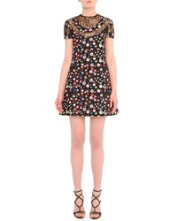 Valentino Lace Inset Floral Print Babydoll Dress