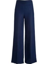 Courreges Vintage High Waisted Flared Trousers Blue