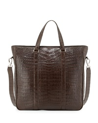 Santiago Gonzalez Crocodile Zip Top Tote Bag Chocolate