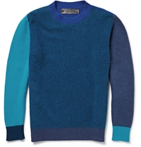 The Elder Statesman Contrast Trimmed Wool And Cashmere Blend Sweater Blue