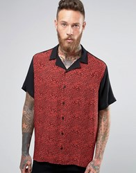 Asos Viscose Shirt With Leopard Print Panel And Revere Collar In Regular Fit Red