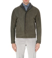 Richard James Button Down Shearling Bomber Jacket Olive