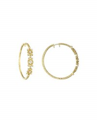 Penny Preville 18K Yellow Gold And Triple Diamond Hoop Earrings