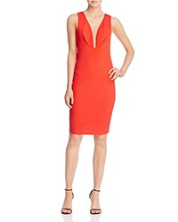Aqua Plunge Neck Quilted Dress Red