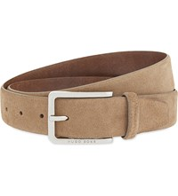 Hugo Boss Cansian Suede Belt Dark Beige