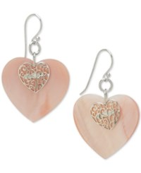 Macy's Heart Shell Inspired Filigree Drop Earrings In Sterling Silver