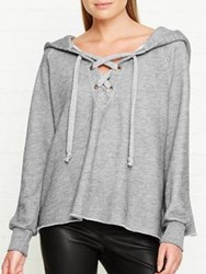 Wildfox Couture Hutton Lace Up Hooded Sweatshirt Grey