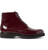 Want Les Essentiels Montoro Patent Leather Boots Burgundy