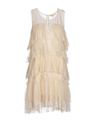 Gold Hawk Short Dresses Beige
