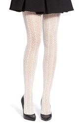 Lemon 'Feather' Pointelle Knit Tights Pebble
