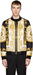 Versace Black And Gold Baroque Print Bomber Jacket