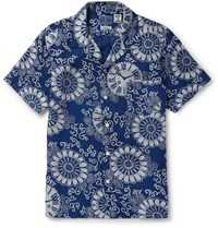 Blue Blue Japan Camp Collar Printed Lyocell Shirt Blue