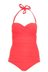 Heidi Klein Ruched Swimsuit Red