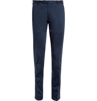 Boglioli Tapered Stretch Cotton Trousers Blue
