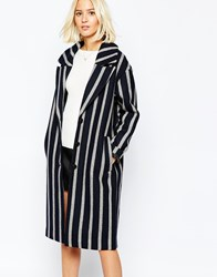 Selected Cocoana Oversized Stripe Coat Blackandgrey