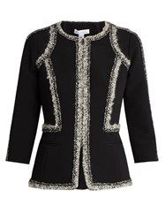 Oscar De La Renta Tweed Trim Flared Peplum Hem Jacket Black