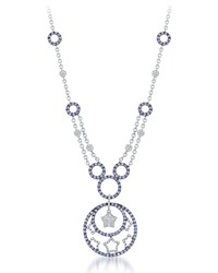 Diana M. Jewels 18K White Gold Sapphire And Diamond Star Pendant Necklace Women's