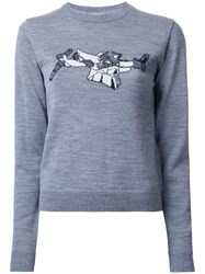 Julien David Intarsia Detail Jumper Grey