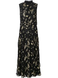 Suno Sleeveless Floral Dress Black