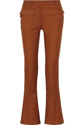Emilio Pucci Cotton Twill Flared Pants Brown