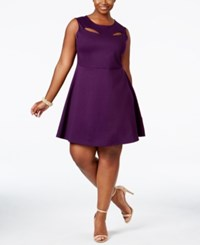 Monteau Trendy Plus Size Cutout Fit And Flare Dress Purple