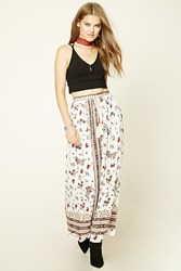 Forever 21 Belted Floral Print Maxi Skirt