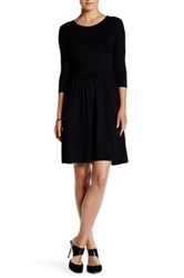 Three Dots 3 4 Length Sleeve Gathered Fit And Flare Dress Black